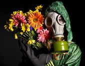 Young woman  in gas mask .Toxic Environment