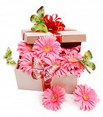 Gift box with flowers and butterfly. Isolated.