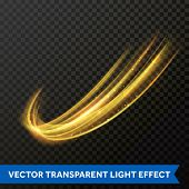 Light Line Gold Swirl Effect. Vector Glitter Light Fire Flare Trace poster