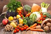 assorted raw fruit and vegetable poster