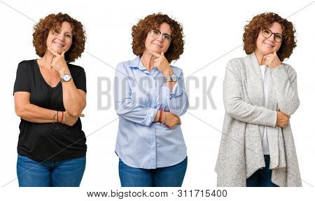 poster of Collage of middle age senior woman over white isolated background looking confident at the camera wi