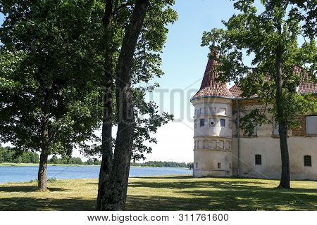 poster of Lithuania. Siesikai Castle Under Construction. Historic Palace In The Neoclassical Style.historic Bu