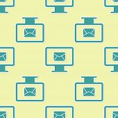 Green Computer Monitor And Envelope, New Message, Mail, Email Icon Isolated Seamless Pattern On Yell poster