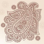 Henna Paisley Mehndi Doodles Abstract Floral Vector Illustratie ontwerpelement