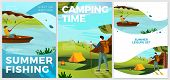 Vector Summer Typographic Posters Set - Hiking And Fishing People. Forests, Trees And Hills On Backg poster