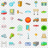 City Pointer Icons Set. Cartoon Style Of 36 City Pointer Icons For Web For Any Design poster