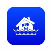 House Sinking In A Water Icon Digital Blue For Any Design Isolated On White Illustration poster