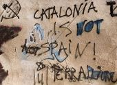 stock photo of extremist  - This graffiti depicts the will of Catalonia to be distinguished from Spain - JPG