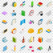 Lesson In College Icons Set. Isometric Style Of 36 Lesson In College Icons For Web For Any Design poster