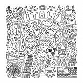 Hand Drawn Italy Doodle Set. Italy Hand Drawn Elementss And Vector Illustrations. Coloring About Ita poster