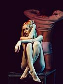 Sexy Girl Sitting In Front Of Young Man Or Unshaven Guy Undressing On Dark Background, Foreplay And  poster