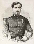Junck de Blankenheim old engraved portrait, French officer killed in Poland. Created by Janet-Lange, published on L'Illustration, Journal Universel, Paris, 1863