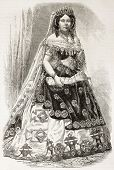 Isabella II Queen of Spain old engraved portrait. Created by Janet-Lange, published on L'Illustration, Journal Universel, Paris, 1863