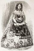 Isabella II Queen of Spain old engraved portrait. Created by Janet-Lange, published on L'Illustration, Journal Universel, Paris, 1863