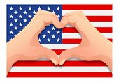 United States Of America Flag And Hand Heart Shape. Patriotic Background. National Flag Of United St poster