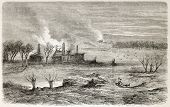 Malogoscz destruction after battle between Polish and Russian. Created by Blanchard, published on L'Illustration, Journal Universel, Paris, 1863