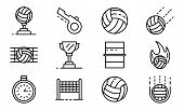 Volleyball Icons Set. Outline Set Of Volleyball Icons For Web Design Isolated On White Background poster