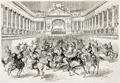 Carousel charity show given in Vienna by aristocracy. Created by Godefroy-Durand after Lallemand, published, on L'Illustration, Journal Universel, Paris, 1863
