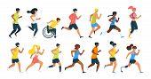Running People Flat Vector Illustration. Men, Women Running Marathon Race, Boy In Wheelchair Cartoon poster