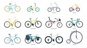 Bicycle Flat Vector Illustrations Set. Equipment For Outdoor Activity Cartoon Cliparts. Bmx, Mountai poster