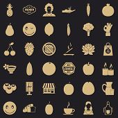 Vegetarian Kitchen Icons Set. Simple Style Of 36 Vegetarian Kitchen Icons For Web For Any Design poster