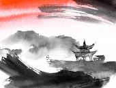 Watercolor And Ink Illustration Of Chinese Landscape With Pagoda In Style Sumi-e, U-sin. Traditional poster