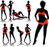 woman silhouettes in red