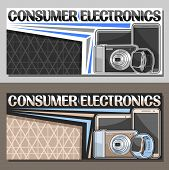 Vector Layouts For Consumer Electronics With Copy Space, Leaflet With Set Black New Electronic Items poster