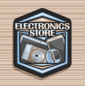 Vector Logo For Electronics Store, Black Decorative Signboard With Illustration Of Set Modern Web El poster