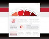 Red website template in editable vector format