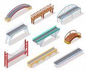 Isometric Bridge. Concrete Bridges Drawbridge River Arch Bridging City Road Infographics Isolated 3d poster