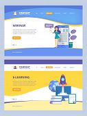 Online Education. Landing Trainings Webinars E-learning Distance Courses Books Vector Web Page Desig poster