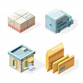 Post Office. Mail And Package Delivery Service Cargo Postbox Mailman Worker Vector Isometric Picture poster