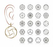 20 Earring Vector Templates. Cutout Silhouettes Like Hoop  Circle. Design Is Suitable For Creating D poster