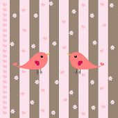 Cute Birds & Hearts Background