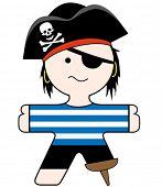 ilustração vetorial de um capitão pirata bom