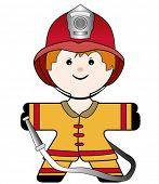 vector illustration of a nice strong fireman