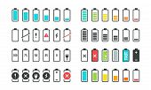 Battery Icons. Phone Charge Level, Ui Design Elements Of Battery Percentage, Full Low And Empty Batt poster