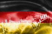 Germany Flag, Stock Market, Exchange Economy And Trade, Oil Production, Container Ship In Export And poster