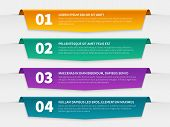 Tabbed Labels. Color Infographic Banners Leaflet Template, Infographics Numbered Ribbon Tags With Te poster