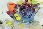 Bright Vegetables Of Yellow And Purple, Flowers, Spices On A Wooden Table, Seasonal, Ingredients For poster