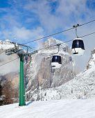 Monocable gondola lift at Val Di Fassa ski resort in Italy