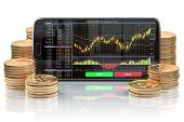 Smartphone with stock exchange, forex application orv mobile trading platform on the screen and stac poster
