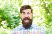 Being Good Spirits. Happy Hipster On Summer Day. Bearded Man Smiling In Trendy Hipster Style On Natu poster