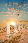 Ancient Greek Columns At Sunset