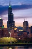 stock photo of willy  - Image of the Chicago cityscape after sunset - JPG
