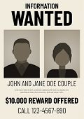 Information Wanted Poster With Male And Female Flat Avatars. poster