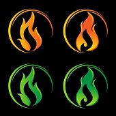 Fire Flames Vector Logo Set. Fire Icon, Fire Icon Eps10, Fire Icon Vector, Fire Icon Eps, Fire Icon  poster