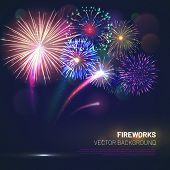 Realistic Fireworks Explosions With Shining Sparks On Dark Background. Festive Template With Brightl poster