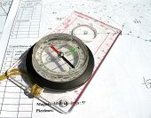 Compass With Ruler On Blueprints.